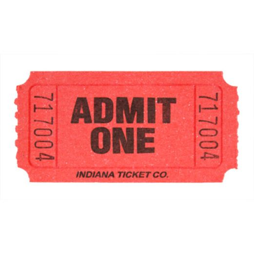 Tickets & Wristbands Red Admit One Ticket Roll Image