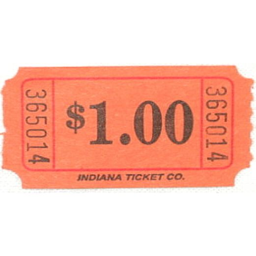 Tickets & Wristbands Orange Dollar Ticket Roll Image