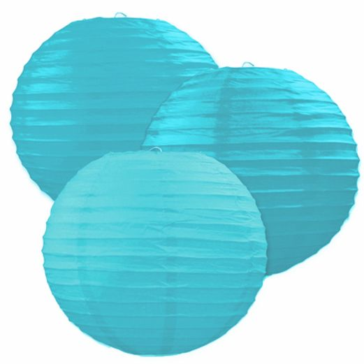 Luau Decorations Turquoise Paper  Lanterns Image