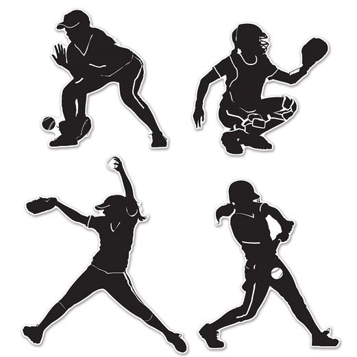 Sports Decorations Softball Silhouettes Image