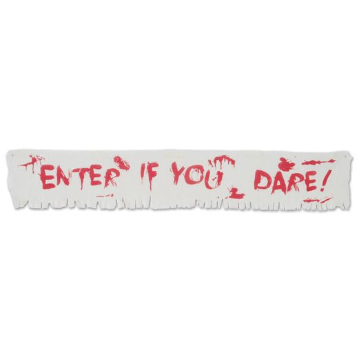 Halloween Decorations Enter if You Dare Fabric Banner Image