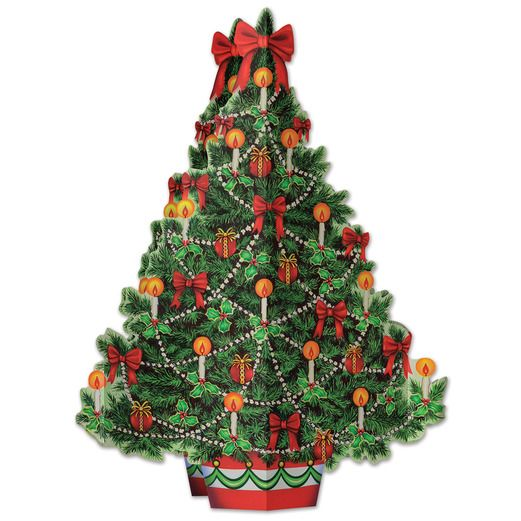 Christmas Decorations 3-D Christmas Tree Centerpiece Image
