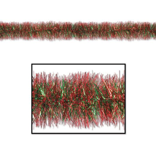 Christmas Decorations Red and Green 100' Tinsel Garland Image