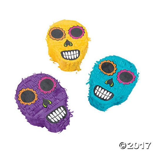 Day of the Dead Decorations Sugar Skull Mini Pinatas Image