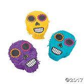 Day of the Dead Decorations Sugar Skull Mini Pinatas Image