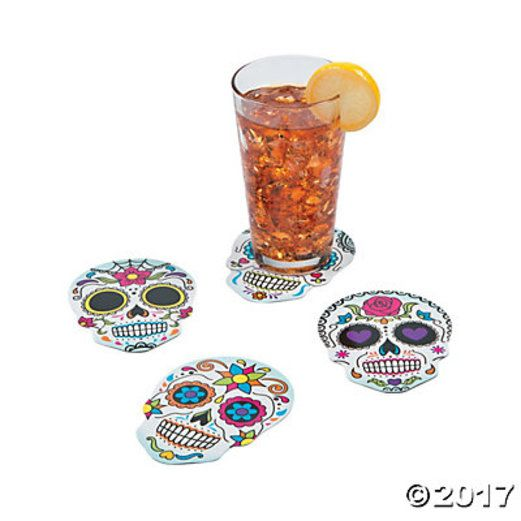 Day of the Dead Table Accessories Day of the Dead Sugar Skull Coasters Image