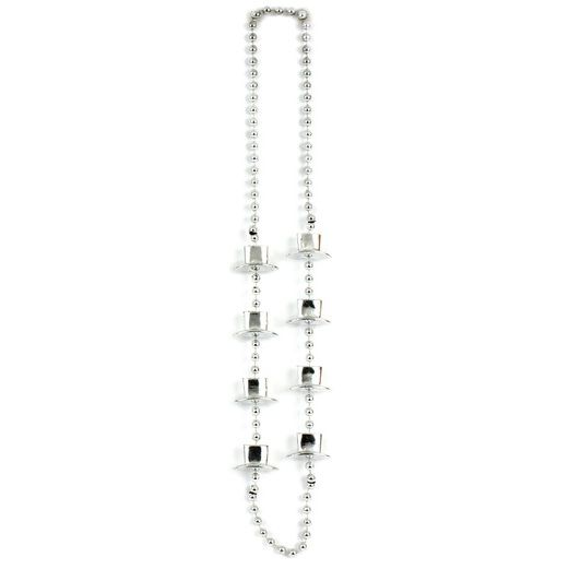 New Years Party Wear Silver Top Hat Bead Necklace Image