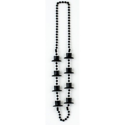 New Years Party Wear Black Top Hat Bead Necklace Image