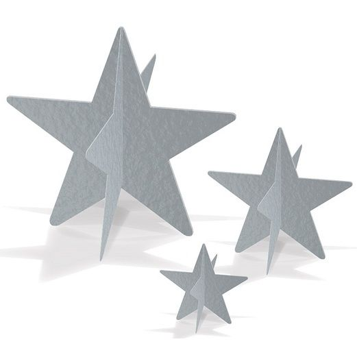 New Years Decorations Silver 3-D Foil Star Centerpieces Image
