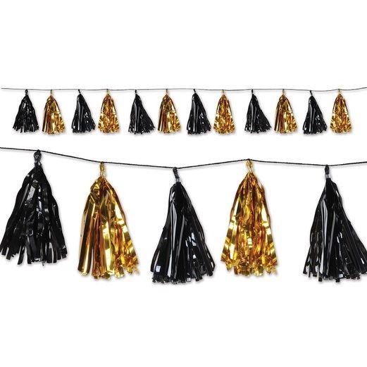 New Years Decorations Black and Gold Metallic Tassel Garland Image