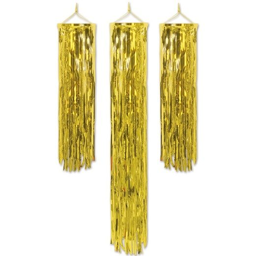 New Years Decorations Gold Mini Fringe Columns Image