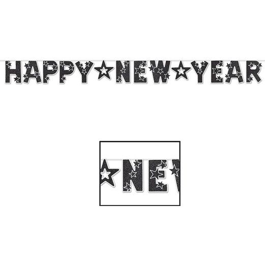 New Years Decorations Glittered Black and White New Year Streamer Image