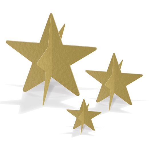 New Years Decorations Gold 3-D Foil Star Centerpieces Image