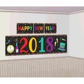 New Years Decorations 2018 Multicolor Happy New Year Backdrop Image