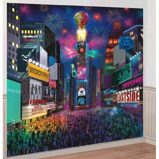 New Years Decorations Times Square Deluxe Scene Backdrop Image