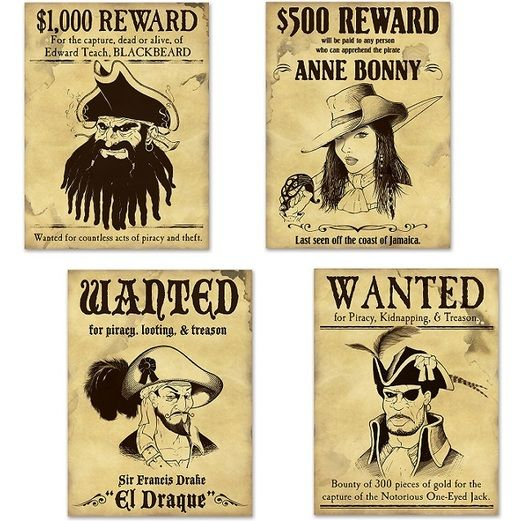 Pirates Decorations Wanted Pirate Signs Image