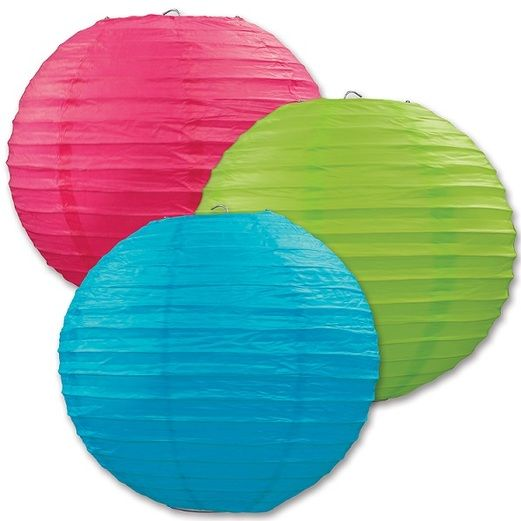Fiesta Decorations Cerise, Lime Green, and Turquoise Paper Lanterns Image