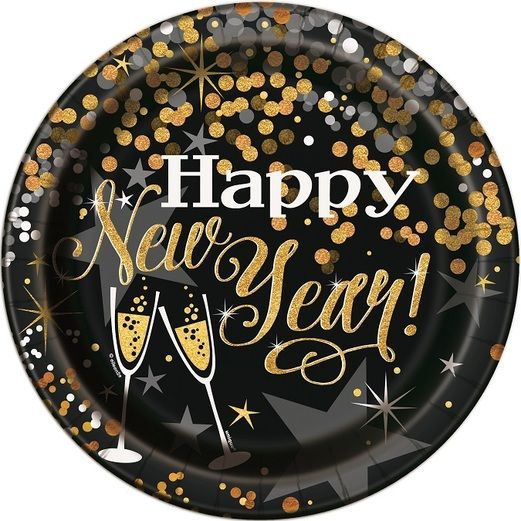 New Years Table Accessories Glittering New Year Dinner Plates Image