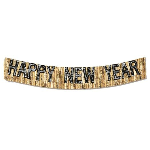 New Years Decorations Black and Gold Metallic Happy New Year Banner Image