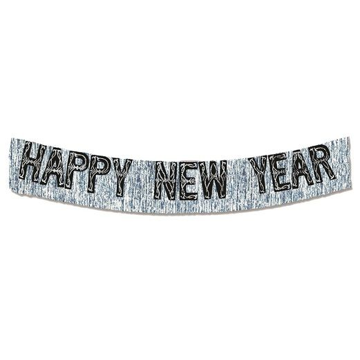 New Years Decorations Black and Silver Metallic Happy New Year Banner Image
