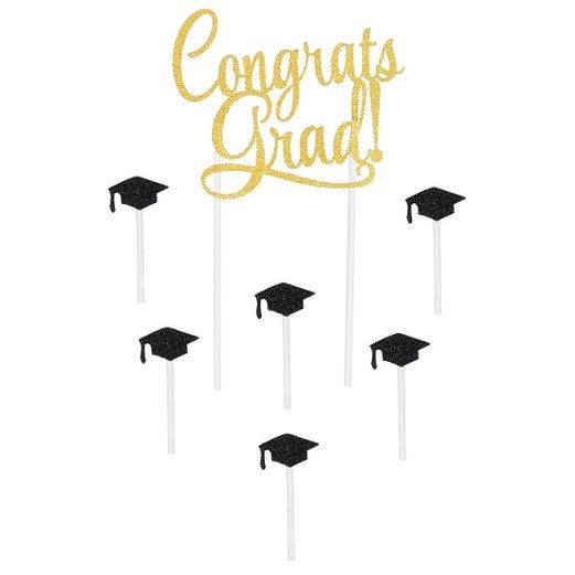 Graduation Decorations Congrats Grad Cake Topper Image