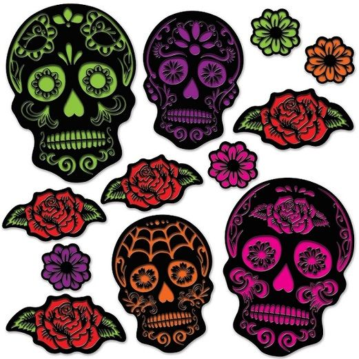 Day of the Dead Decorations Day of the Dead Sugar Skull Cutouts Image