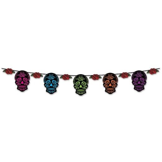 Day of the Dead Decorations Day of the Dead Sugar Skull Streamer Image