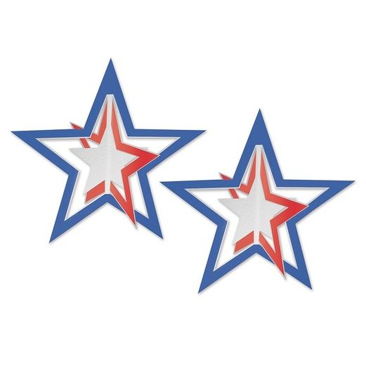 4th of July Decorations 3-D Foil Patriotic Hanging Stars Image