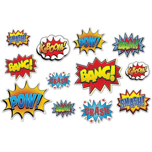 Birthday Party Decorations Hero Action Sign Cutouts Image