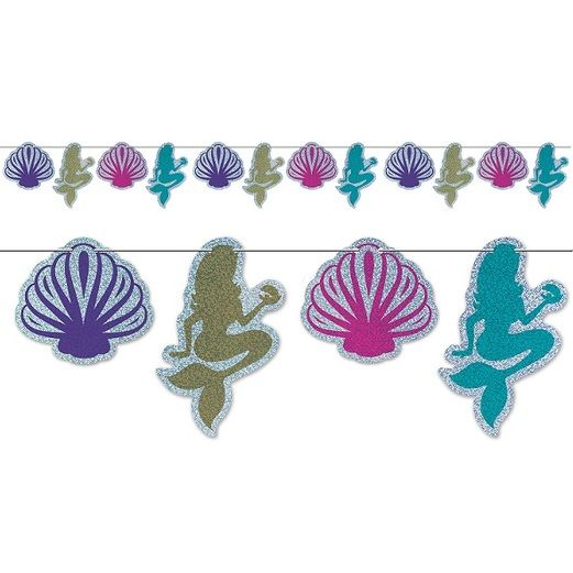Luau Decorations Mermaid and Seashell Streamer Image