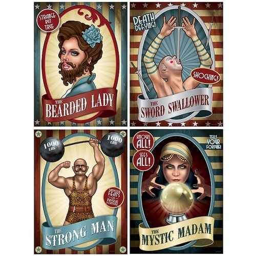 Vintage Circus Poster Cutouts