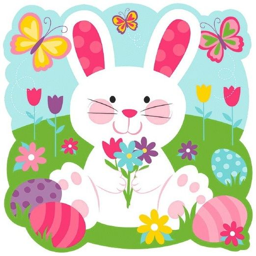 Easter Decorations Bunny with Butterflies Cutout Image