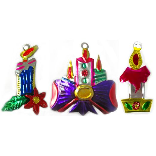 Christmas Decorations Candles Tin Ornament Image