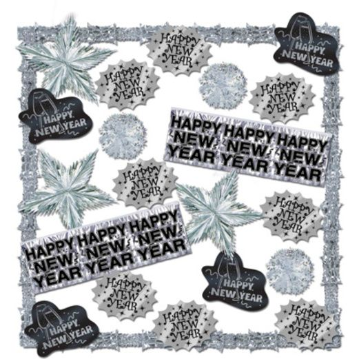 New Years Decorations Silver New Year's Decorating Kit Image