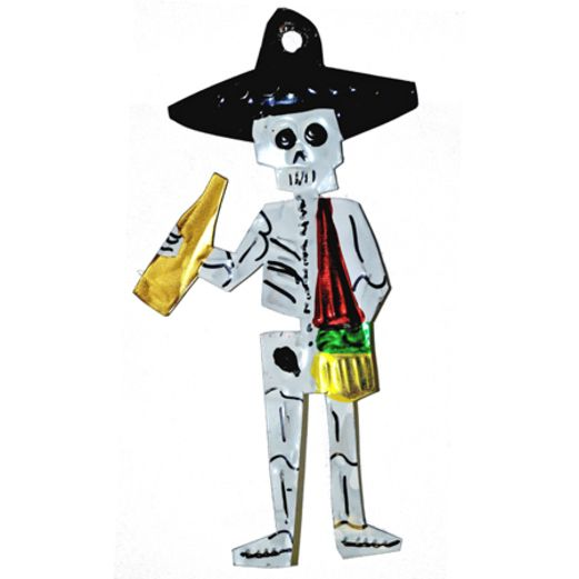 Day of the Dead Decorations Trumpet Player Tin Ornament Image