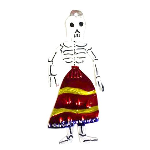 Day of the Dead Decorations Dama w/ Red Skirt Tin Ornament Image