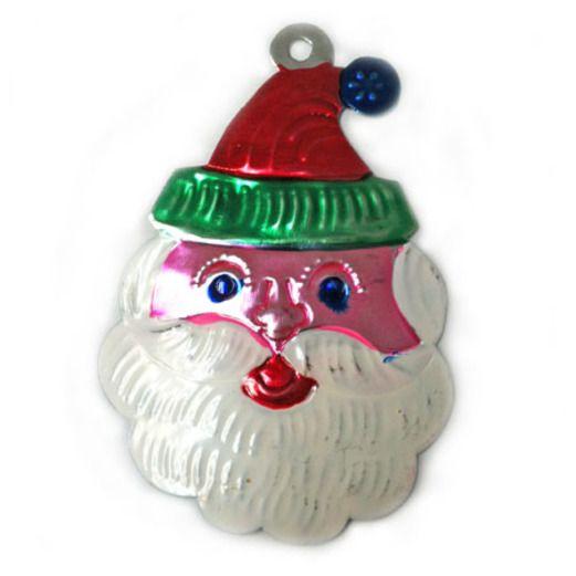 Christmas Decorations Santa Face Tin Ornament Image