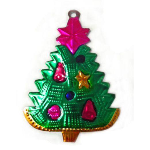 Christmas Decorations Christmas Tree with Star Tin Ornament Image