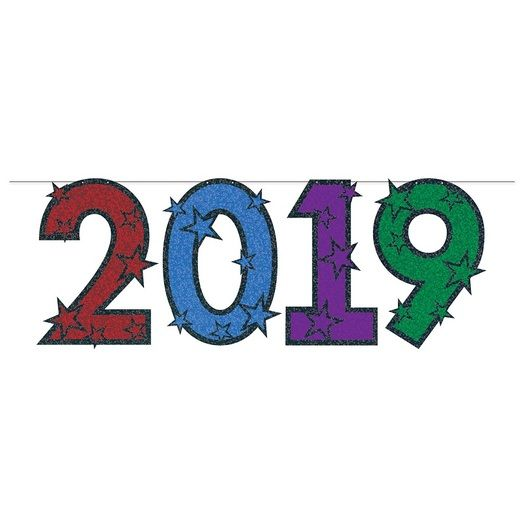 New Years Decorations Multicolor Glittered 2019 Streamer Image