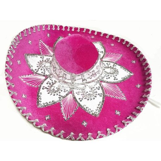 Cinco de Mayo Hats & Headwear Hot Pink and White Mariachi Sombrero Image