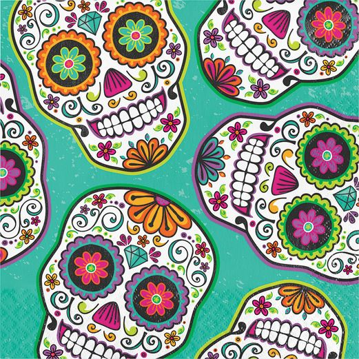 Day of the Dead Table Accessories Dia De Los Muertos Festival Luncheon Napkins Image