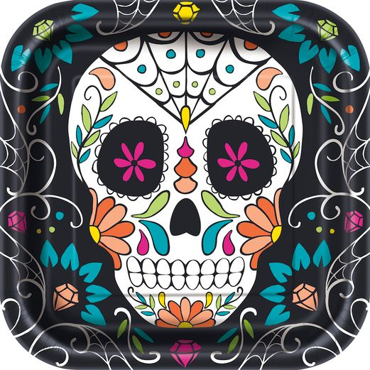 "Day of the Dead Table Accessories Skull Day of the Dead 9"" Square Plates Image"