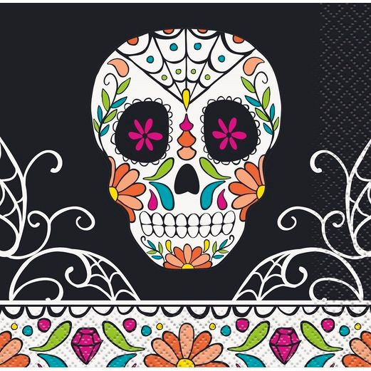 Day of the Dead Table Accessories Skull Day of the Dead Beverage Napkins Image
