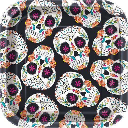 "Day of the Dead Table Accessories Skull Day of the Dead 7"" Square Plates Image"
