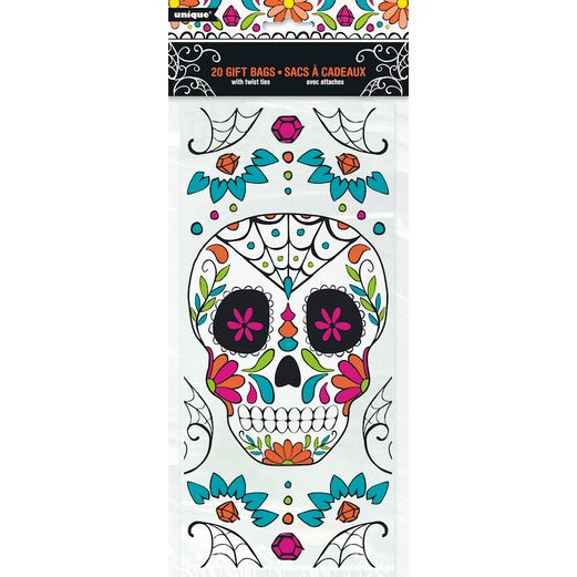 Day of the Dead Gift Bags & Paper Skull Day of the Dead Cello Bags Image