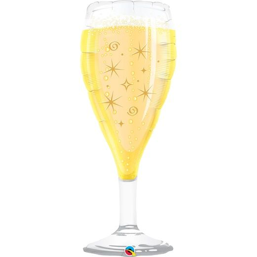 New Years Balloons Jumbo Bubbly Glass Mylar Balloon Image