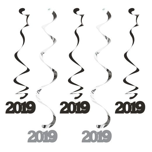 New Years Decorations 2019 Black and Silver Dizzy Danglers Image