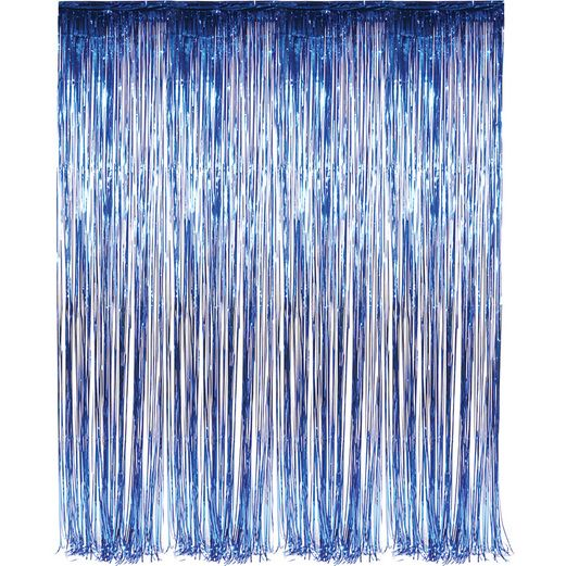 4th of July Decorations Blue Metallic Fringe Curtain Image