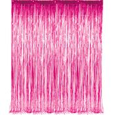 Decorations / Hanging Decorations Cerise Metallic Fringe Curtain Image