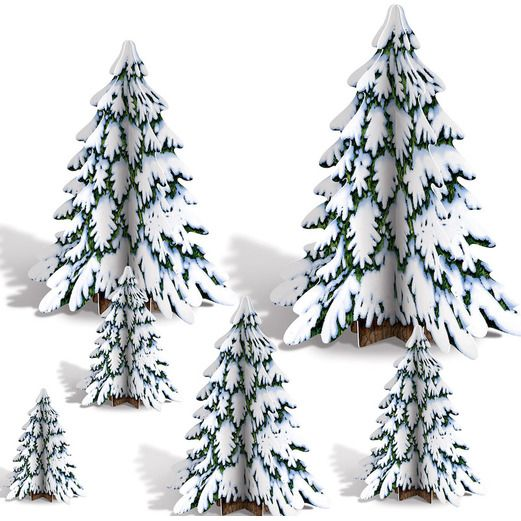 Christmas Decorations 3D Winter Pine Tree Centerpieces Image